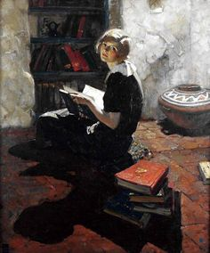 """This is an oil on canvas by Dean Cornwell. It is called """"Portrait of a Young Woman Reading"""". Dean Cornwell was born in Louisville, Kentucky in Norman Rockwell, Rockwell Kent, Reading Art, Woman Reading, Female Portrait, Female Art, Woman Portrait, Dean Cornwell, Alfons Mucha"""