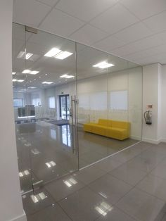 From Glass At Work: Frameless Glass Office Walls & Partitions for Sov Print Ltd in Caerphilly, Wales Glass Office Partitions, Glass Partition, Gym Interior, Home Interior Design, Fancy Bedroom, Basement Conversion, Snug Room, Room Divider Walls, Glazed Walls