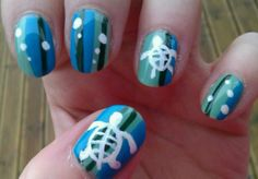 sea turtle and bubble nail design. Turtle Nail Art, Turtle Nails, Cruise Nails, Vacation Nails, Manicure E Pedicure, Manicure Ideas, Pedicures, Mani Pedi, Nail Ideas