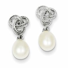 Sterling Silver Freshwater Cultured Pearl Cubic Zarconia Post Earrings (QE5098) $35. Parker Jewelers. 856-935-3400. Call to order.