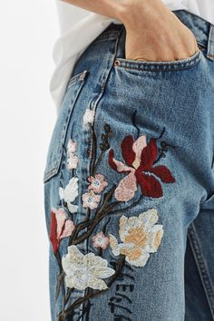 TALL Floral Embroidered Mom Jeans - Topshop