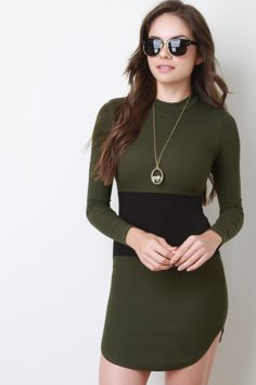d3126caf905f Contrast Panel Crew Neck Mini Dress. Description A crew neck long sleeves .  Finished with