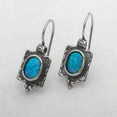 Shablool Didae Israel Special Opal 925 Silver Earrings With Blue Stone
