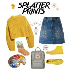 """Yellow artsy"" by wanderlustdreams ❤ liked on Polyvore featuring H&M, Alice + Olivia, Converse, HOT SOX, Fjällräven, CLUSE and Urbanears"