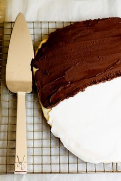 It's a giant Black and White Cookie!!!!!