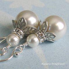 Bridal Pearl and Crystal Earrings, Bridesmaid Vintage Style Wedding Earrings, Crystal White, Ivory Pearl, Wedding Jewelry, Jewellery, Silver