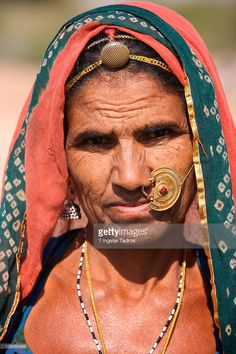 Stock Photo : Old Bishnoi woman with big traditional nosering