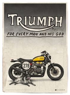 Bonnefication has been showcasing custom Triumph motorcycles since 2008 - featuring everything from cafe racers and scramblers, to trackers and brat styled machines. Triumph Bonneville, Triumph Motorbikes, Triumph Scrambler, Cool Motorcycles, Triumph Motorcycles, Vintage Motorcycles, Bike Poster, Motorcycle Posters, Motorcycle Art