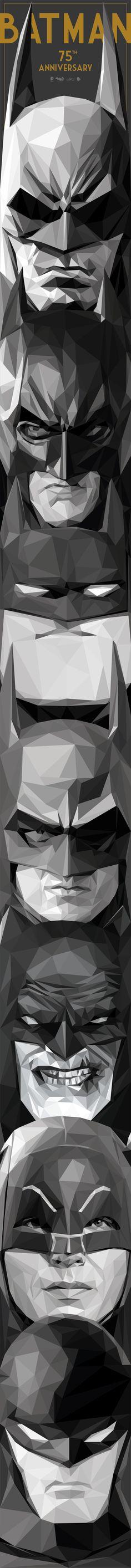 """Bat-Totem"" by Simon Delart. Batman 75th Anniversary artwork. // From Bottom to top: 1) Bill Finger / Bob Kane – 2) Adam West – 3) Frank Miller – 4) Tim Burton / Michael Keaton – 5) Bruce Timm / The Animated Series – 6) Christopher Nolan / Christian Bale – 7) Batman Arkham video games."