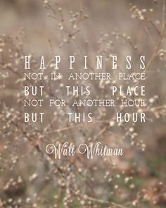 I love this quote by Walt Whitman. It's refreshing and not over the top.