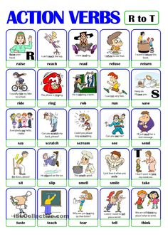 This is the fourth worksheet of the ACTION VERB set. It includes verbs from r) to t). There is always a picture and an example sentence to help make the meaning clearer. Learning English For Kids, English Worksheets For Kids, Kids English, English Activities, Vocabulary Activities, English Lessons, Learn English, Verbs For Kids, Grammar For Kids