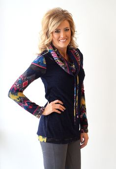 The Colorful Aztec Cowl Neck Sweater