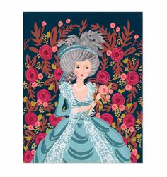 Marie Antoinette Illustrated Art Print, Anna Bond, Rifle Paper Co. Graphic Art Prints, Canvas Art Prints, Rifle Paper Co, Art And Illustration, Art Illustrations, Gouache Painting, Anna Bond, Junk Journal, Journal Ideas