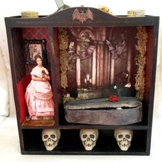 """Gothic Shadow Box  Gothic Fairy Tale  Vampire by NacreousAlchemy - A """"Dark Shadows"""" style shadow box, a bit of the Gothic, and a bit for the Halloween decor ... I wonder if the lid will lift in a moment!  Interesting piece.  It would be cool if there were a flickering candle in the background, I suppose it could be wired for that."""