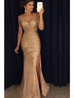 gold beading prom dresses,split prom dress, sexy evening dresses #SIMIBridal #promdresses