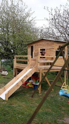 cabane pour enfant en bois de r cup 39 diy palette cabane. Black Bedroom Furniture Sets. Home Design Ideas