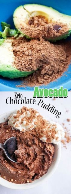 With only two ingredients you can make this delicious Chocolate Avocado Pudding for an indulgent after dinner dessert! Low carb and keto. Pear And Chocolate Cake, Delicious Chocolate, Chocolate Desserts, Chocolate Pudding, Keto Pudding, Avocado Pudding, Keto Vegan, Vegetarian Keto, Vegan Food