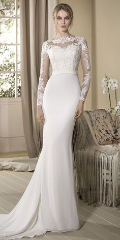 Long sleeve, mermaid wedding dress pretending to be a two-pieces outfit. Bodice crafted from nude tulle contrasting with white lace motifs and chiffon skirt. dresses chiffon skirt Cabotine 2017 Bridal Collection With Glamorous Details - World of Bridal Mermaid Wedding Dress With Sleeves, Lace Dress With Sleeves, Mermaid Dresses, Latest Bridal Dresses, Bridal Gowns, Wedding Gowns, 2017 Bridal, Lace Wedding, Wedding Dress Trends