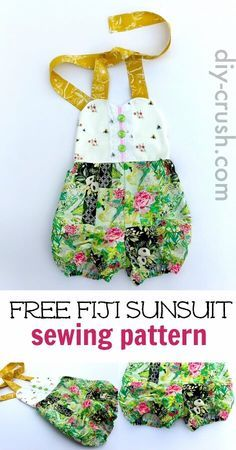 Sunsuit Pattern for babies up to size 6 girls. Sew this one for summer. Download it today before it's gone |
