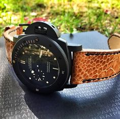 Tan Ostrich Shin Leather Strap, with hand stitched edges in black waxed thread. Watch Straps, Handmade Leather, Hand Stitching, Wax, Belt, Watches, Brown, Accessories, Belts