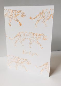 striding tigers thank you card by maria nilsson