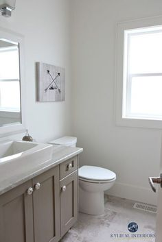 Benjamin Moore White Dove is a great off-white for home staging and selling. Shown in small bathroom with Kingsport Gray vanity Best Gray Paint Color, Best White Paint, White Paint Colors, Paint Colors For Home, House Colors, Neutral Paint, Gray Color, Taupe Paint, Best Bathroom Colors