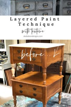 This was the perfect DIY paint finish for my end tables. I used this layered paint technique with a texture additive that covered a multitude of sins. Gosh! Now I actually love them!   #dododsondesigns #layeredpainttechnique #paintedfurnituremakeover Diy Furniture Repair, Diy Home Furniture, Paint Furniture, Furniture Projects, Furniture Makeover, Furniture Refinishing, Repurposed Furniture, Repurposed Items, Distressed Furniture