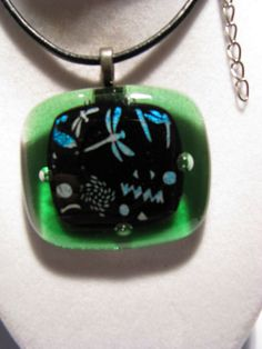 REDUCED Fused glass necklace with Dichroic or by Sharonsidlehands $4 Buy 5 and I will pick and add 1 free