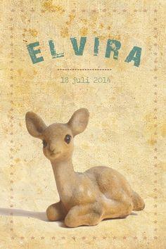 Geboortekaartje meisje - vintage hertje - Pimpelpluis - https://www.facebook.com/pages/Pimpelpluis/188675421305550?ref=hl (# vintage - retro - hert - hertje - papier - sterren - grunge - speelgoed - lief - dieren - bambi - origineel)