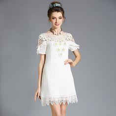 Women's Crochet Ruffle Trim Floral Embellished White Party Dress Plus Size l,xl,2xl,3xl,4xl,5xl