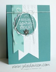 """Among The Branches, Silver Foil, 2"""" Circle, 2-3/4"""" Scallop Circle & Triple Banner punches, Winter Wonderland Embellishments, Whisper White Baker's Twine"""