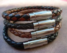 Leather Bracelet with Stainless Steel Magnetic Clasp, Mens Bracelet, Mens Jewelry, Mens Gift, Braide Braided Bracelets, Bracelets For Men, Fashion Bracelets, Fashion Jewelry, Men's Jewelry, Male Jewelry, Jewellery, Leather Necklace, Leather Jewelry