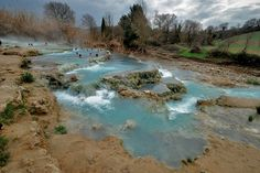 The natural thermal pools at Saturnia Tuscany - special place to visit for free in Maremma