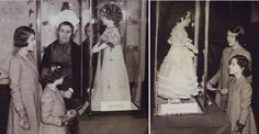 The princesses visiting the exhibit of the dolls, which benefited the Princess Elizabeth of York Hospital for Children