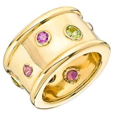 Chanel Peridot Pink Tourmaline Gold Wide Band Ring | From a unique collection of vintage band rings at https://www.1stdibs.com/jewelry/rings/band-rings/