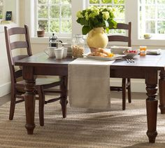 Sumner Square Fixed Dining Table | Pottery Barn -- 60'' square ... seats 8.  Non-extendable.