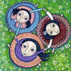 Three Sisters art print  Girls Dancing  Folk Art by LindyLonghurst, $20.00