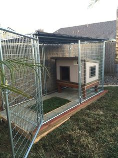 Asked around if anyone had a dog house they didnt need, a friend from work had a. Asked around if anyone had a dog house they didnt need, a friend from work had a neighbor who had n Dog Kennel Designs, Diy Dog Kennel, Outdoor Dog Kennel, Outdoor Dog Area, Kennel Ideas, Dog Kennels, Backyard Dog Area, Dog Enclosures, Outside Dogs