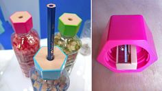 A Bottle Cap Pencil Sharpener , use plastic bottle as storage for pencil shavings #Recycle