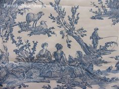 tissu toile de Jouy Delices des 4 saisons (toile, bleu fond blanc)  復刻版トワルドジュイ布:四季の喜び(トワル、白ベースブルー)