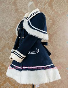 Cheap Navy blue Wool Blended Cap Shoulder Long Sleeves Wool Trim Lolita Coat Sale At Lolita Dresses Online Shop. We provide Lolita products with quality and best service online, lower price and top style fashion for you. Kawaii Fashion, Cute Fashion, Girl Fashion, Fashion Dresses, Fashion Design, Fashion Goth, Cosplay Outfits, Anime Outfits, Mode Outfits