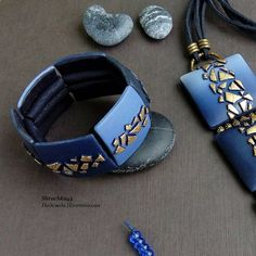 Blue and gold polymer clay large bracelet