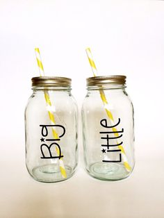 Big and Little Mason Jar Tumblers by TheCraftyEngineerx, $25.00 for two