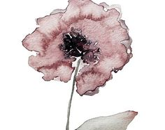 poppy - abstract, impressionist, modern, minimalist, art, watercolor, pink, sage, poppy, flower, decor, botanical, bohemian, art, giclee