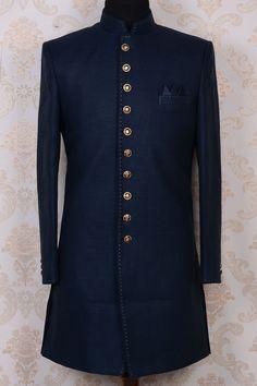 Indowestern Sherwani-Ink Blue-Resham Thread Work-IW479