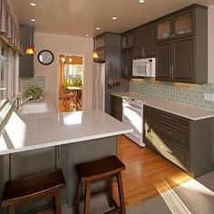 Kitchen Design White Cabinets White Appliances gray & white kitchen remodel with touches of wood @centsationalgrl