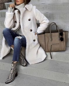 Winter Warm Solid Color Double-Breasted Long Outerwear Coat SKU Brand Name Girlloco length_cm sleeve_length bust_cm inch cm inch cm. Style Année 80, Mode Style, Mode Outfits, Fashion Outfits, Womens Fashion, Fashion Trends, Fashion Ideas, Fashion Styles, Fashion Clothes