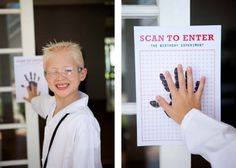 6/22/13 Scan to Enter - adapt for superhero headquarters entrance.  I traced the birthday boys hand, of course, to make ours.