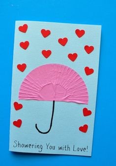 """You with Love"""" Mother's Day Card """"Showering You with Love"""" Mother's Day Card Kids Craft from .""""Showering You with Love"""" Mother's Day Card Kids Craft from . Diy Mother's Day Crafts, Valentine's Day Crafts For Kids, Valentine Crafts For Kids, Daycare Crafts, Fathers Day Crafts, Mother's Day Diy, Valentine Day Crafts, Preschool Crafts, Spring Crafts"""
