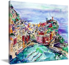 """""""Vernazza Italy Cinque Terre Painting"""" by artist Ginette Callaway. Discover more at imagekind.com!"""